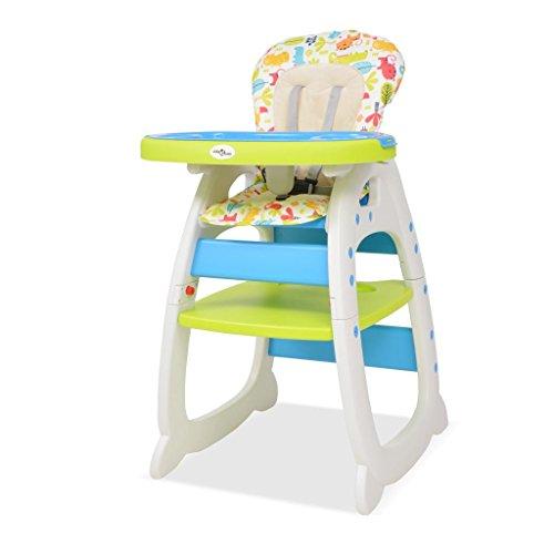 Festnight 3-in-1 Verwandelbarer Hochstuhl Babyhochstuhl mit Essbrett Kinderhochstuhl für Babys und Kleinkinder - Blau und Grün