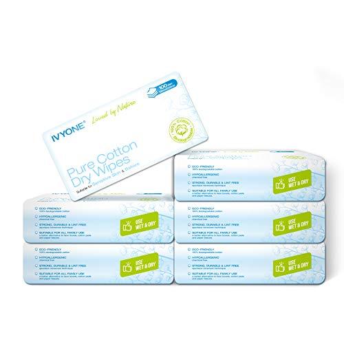 Ivyone Pure Cotton Dry Wipes, Premium-Watte Pflegetücher, trocken, sehr weich Biodegradable-Baumwolle für Empfindliche Haut, Baby-Pflegetücher, Abschminken Wipes (600 Tücher)