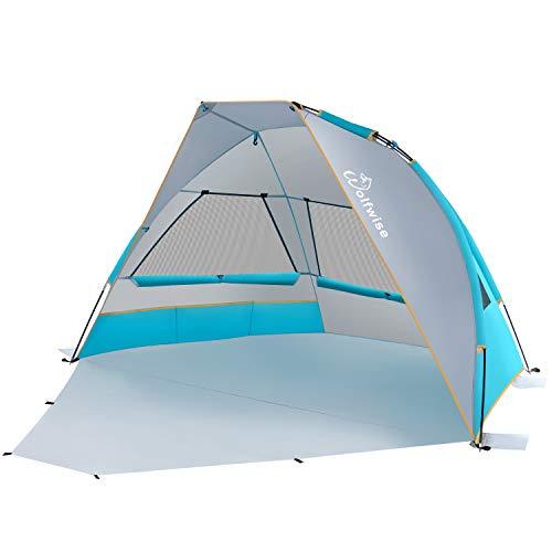WolfWise UPF 50+ für 2-3 Personen Leichtgewichtiges Faltbares Strandzelt Strandmuschel Sonnenschutz Zelt