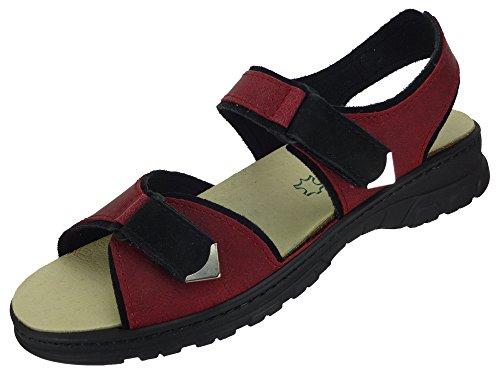 Algemare Damen Trekking Sandale Nubuk Leder Red waschbares Algen-Kork Fußbett 6478_0857 Sandalette Pantolette mit Wechselfußbett, Größe:35 (Meeresalgen Red)