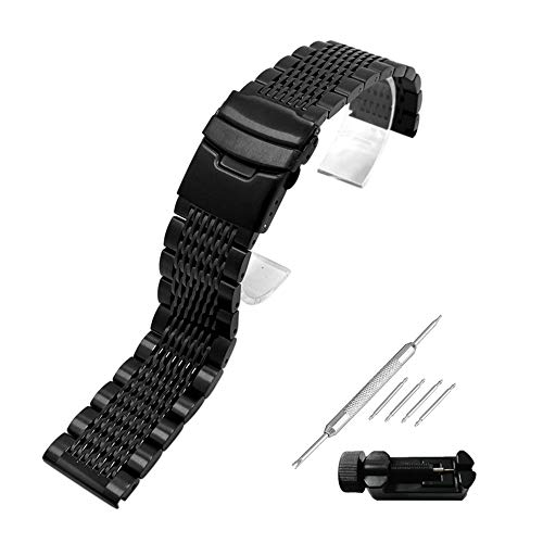 Weimob Unisex Edelstahl Uhrenarmband 22mm Schwarz mit Faltschließe Gerade Anstoß Schnell-Installierbar Länge Verstellbar Federstift Federstegen Linksentferner wa143s22weimob EINWEG - Einweg Metall