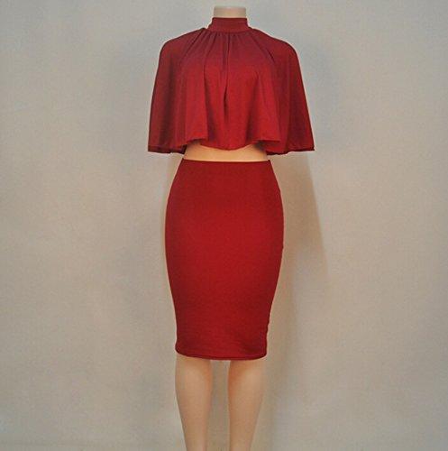 QIYUN.Z Femmes Melanges De Coton En Deux Costume Robe Svelte Cap Tops Backless De Lacets Vin rouge