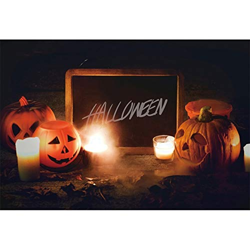 OERJU 1,5x1m Halloween Hintergrund Schrecklich Kürbislaterne Fotografie Halloween-Vorstand Kerze Hintergrund Süßes oder Saures Halloween Party Dekoration Porträt Requisiten