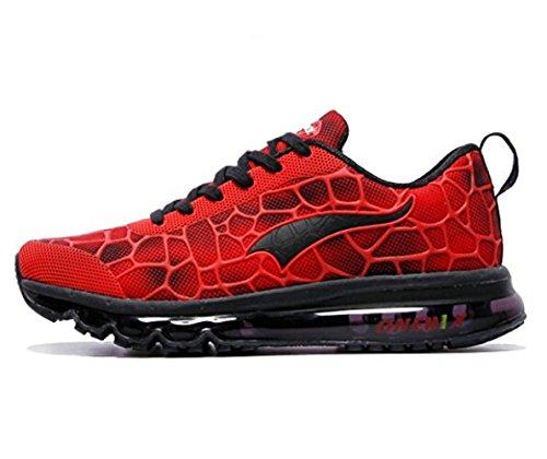 Onemix Air Uomo Scarpe da Ginnastica Corsa Sportive Running Sneakers Fitness Interior Casual all'Aperto Rosso nero dimensione 47 EU