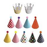 Interesting® 11pcs lindo cumpleaños fiesta tapa sombrero conjunto sombrero colorido Festival fiesta celebrar