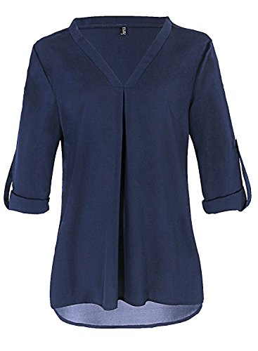 Fleasee Damen Einfarbig Chiffon Bluse V-Ausschnitt Elegante Langarm Tunika Casual Top mit 3/4 Ärmel Locker