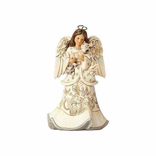 ENESCO Jim Shore Creature Comforts White Woodland Angel with Animals Figurine 4058736 -