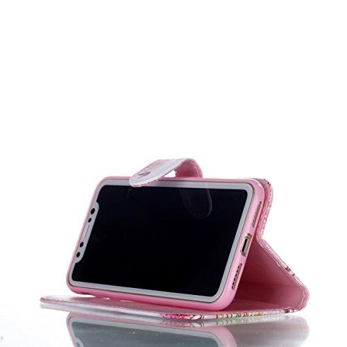 iPhone X hülle, Voguecase Kunstleder Tasche PU Schutzhülle Tasche Leder Brieftasche Hülle Case Cover für Apple iPhone X(dreaming 04) + Gratis Universal Eingabestift Kirschblüten