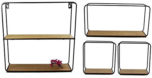 Metall Wandregal 4er Set - Regale in 3 unterschiedlichen Größen - Design Hängeregal Bad Regal...