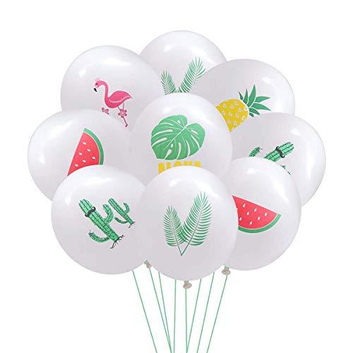 Amosfun 60pcs 12 Zoll Hawaii Ballon Tiki Latex Ballon Luau Party Dekorationen (Flamingo + Monstera + Wassermelone + Ananas + Palm Tree Leaves + Cactus, 10 Stück für jeden)