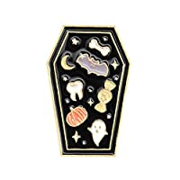 Vektenxi Coffin Enamel Brooch Pin Denim Jeans Badge Halloween Party Decoration Black