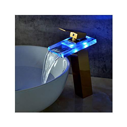 GXQSLT Wasserhahn LED Wasserfall Wasserhahn Glas über Counter Becken Erhöhung Wasserhahn Gold Becken Wasserhahn -