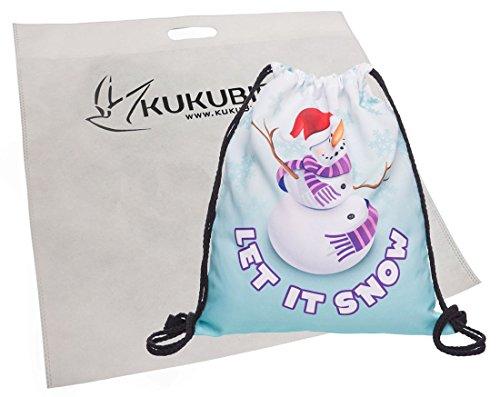 Kukubird Nouveau Amusant Bonhomme De Neige Et Elf Simples Sacs À Dos Avec Sac À Poussière Kukubird Let It Snow