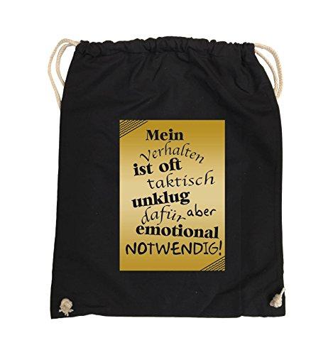 Comedy Bags - Mein Verhalten ist oft taktisch unklug - ZETTEL - Turnbeutel - 37x46cm - Farbe: Schwarz / Pink Schwarz / Gold