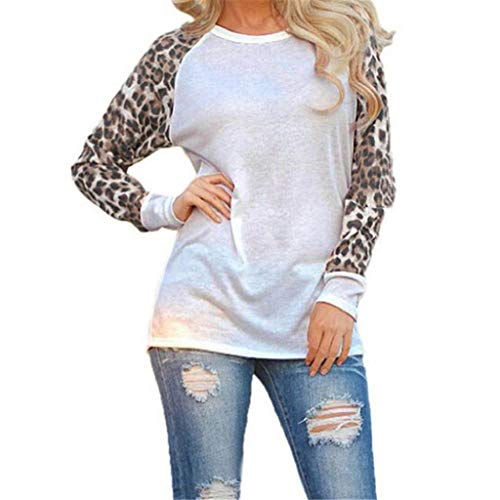 Große Hohe Seide T-shirts (Rovinci Damen Leopard Print Bluse Langarm Pullover Große Größe Damenmode Patchwork T-Shirt Oversize Lose Tops Pulli Sweatshirt Bluseshirt Hemdblusen Oberteile)