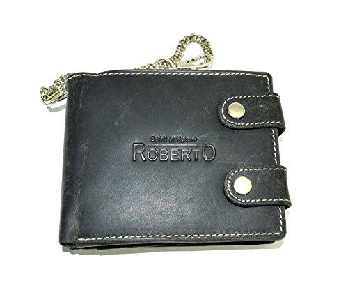 Leder Portemonnaie mit Kette Wildleder Design in schwarz mit RFID Schutz (schwarz Querf.)