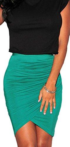 erdbeerloft - Damen unifarbener knielanger Midi Rock Skirt mit Beinchlitz, XS-M, One Size-One Size, viele Farben Türkis