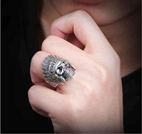 ZXH Amazon Hot S925 Silber Ring indischen Ring Open Vintage Adler Feder Krone Ring Herren Persönlichkeit herrschsüchtig Ring (Indische Ring Nickel)