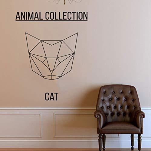 Fushoulu 47 X 42 Cm Geometrische Katze Kopf Vinyl Aufkleber Aufkleber Abstrakte Feline Wandaufkleber, Kitty Art, Katze Meme, Tierkunst, Haustier Wand Aufkleber