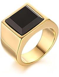 vnox envejecido Acero Inoxidable Bañados en oro 18K cuadrado negro ágata boda anillo de Signet para hombre