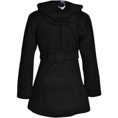 Flirty Wardrobe Veste à capuche avec boutons et ceinture Femme Noir - Noir