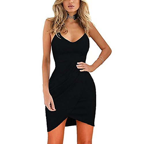 KJSEXY Women's Spaghetti Straps Deep V Neck Sleeveless Bodycon Party Dress