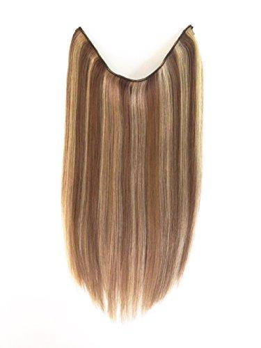 DS Secret Menschliche Haarverlängerungen - 100% Remy Natural Human 18 Inch Or 21 inch Hair Extensions W/Invisible Wire For Quick Attachment - 100g (21 Inch, 8-24_HazelBrown_TrueBlond)