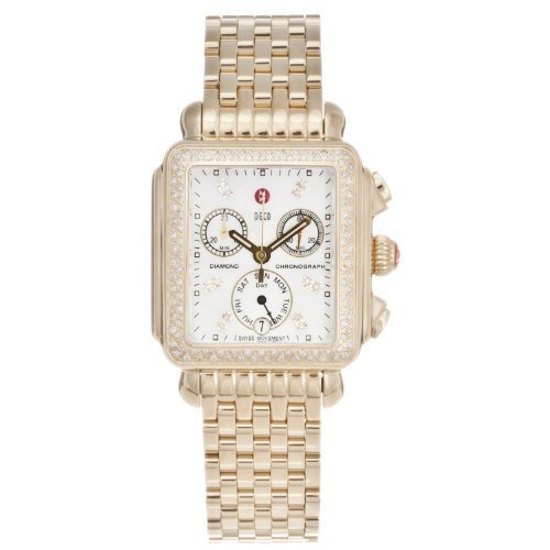 Michele Women's 'Deco' 18K Gold Plate Diamond Chronograph Watch MW06P01B0046
