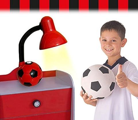 Lampe de bureau enfant pour les garçons et les filles -modèle ballon de football - Rouge