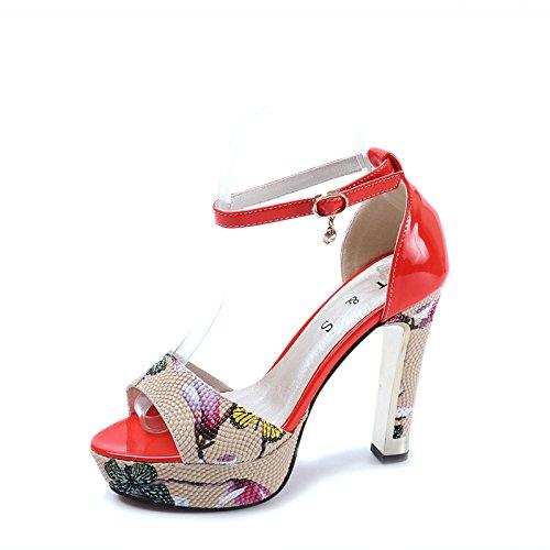 Lgk & One fa estate sandali da donna, con stampa alla moda di tacchi alti sandali pesce bocca scarpe da donna gules