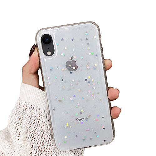 MoreChioce kompatibel mit iPhone XR Hülle,kompatibel mit iPhone XR Glitzer Handyhülle,Kreativ Transparente Sterne Bling Paillette Strass Silikonhülle Schutzhülle Kristall Flexible Bumper
