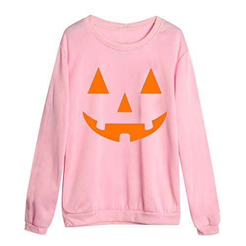 Berimaterry Halloween Karneval Party Kostüm Damen Casual Gedruckt Rundhalsausschnitt Pullover Bluse Lose Sweatshirt Langarmshirt Pulli für Frauen