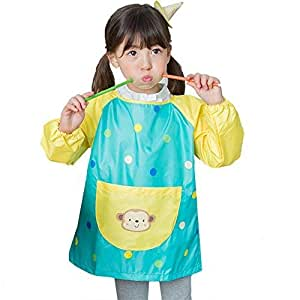 Hosim Childrens Art Smock Long Sleeve Waterproof Painting Apron Kids Lovely Monkey Artist Smocks Play Apron with Large Pocket Ideal for Painting//Kitchen//Baking L, Green