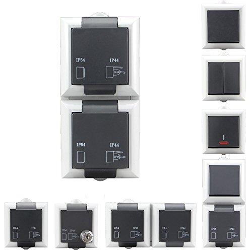 Preisvergleich Produktbild Aufputzsteckdose Schalterserie | Steckdosen & Aufputz Schalter wählbar | Doppelt & 1-Fach wählbar | IP54 + Schutzkontakt - geeignet für den Aussenbereich | Aufputzsteckdose, doppelt, Vertikal