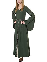 Medieval Autumn Dress Ava with Wide Sleeves Green