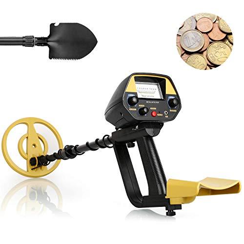 INTEY Metal Detector, Due modalità di Rilevamento, Sonda Impermeabile, Lunghezza Regolabile, la Sensibilità Regolabile, con Pala e Zaino