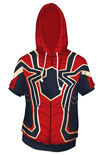 MingoTor Herren Damen Superheld Spider-Man Far from Home Iron Kapuzenjacke 3D Pullover mit Kapuze Sweatjacke Hoodie Cosplay Kostüm Unisex