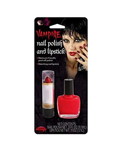 Horror-Shop Nagellack und Lippenstift Set Rot
