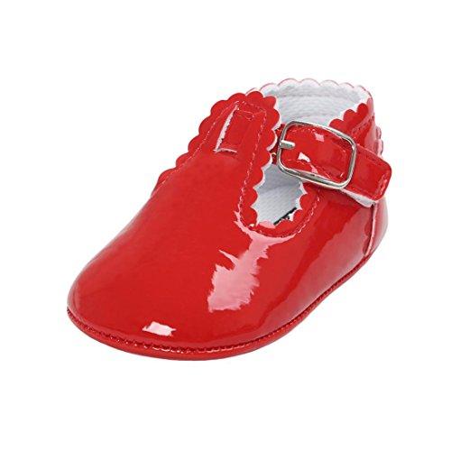 Magiyard Zapatos de suela princesa suave Zapatillas de deporte para niños Zapatillas informales (0 ~ 6 meses, Rojo)