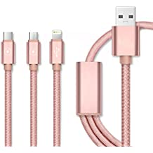 Vandot 3in1 [3 Pack] Nylon Charging Cable [Micro-USB + Lightning Cable + Type-C] 1.2M 8 Pin Charger Cable Sync Nylon Braided Quick Charger Adapter Plug for Tipo C Android iOS Apple Smartphone Cell Phone for for iPhone 8/7/7 Plus / 6/6 Plus / 6s / 6s Plus / 5 / 5c / 5S, Samsung Galaxy Note 8 / S8 Plus / S8 / S6 /S7 Edge, Kindle Tablet, Macbook Pro, iPad Air/Air 2, iPad Mini 2 3 4, Huawei Mate 10/P8/P9/P10 Lite, Xiaomi Mi6,BQ Aquaris X, GoPro, Sony, LG, HTC, Wiko etc, Conector de Aluminio (Rosa)