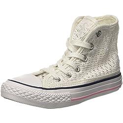Converse Zapatillas Abotinadas All Star Hi Tiny Crochet Blanco/Rosa EU 27