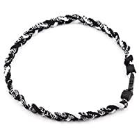 ACHICOO 3 Rope 20` Titanium Ionic Sports Necklace Baseball Softball Soccer Braided Twist(Black/Black/White) Outdoor Products