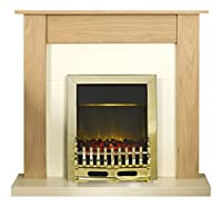 Adam Southwold Fireplace Suite in Oak with Blenheim Electric Fire in Brass, 43 Inch