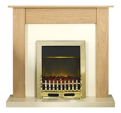 Adam Southwold Fireplace Suite in Oak with Blenheim Electric Fire in Brass, 43 Inch