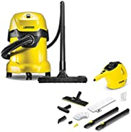 Karcher WD 3 Vacuum Cleaner with SC 1 Steam Cleaner, Yellow, 893 x 783 x 535 mm, 95552280