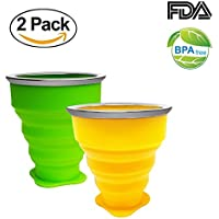 Vaso Plegable sin BPA Tazas de Café de Silicona Con tapa Copa de Viaje Portátil Para Senderismo Exterior Cámping Deportes, Verde + Amarillo