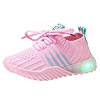Sceoyche Kids LED Light Shoes, Luminous Breathable Sport Shoes Ultralight Outdoor Shoes Lace-Up Walking Shoes Non-slip Indoor Sneakers Running Shoes for Boys Girls