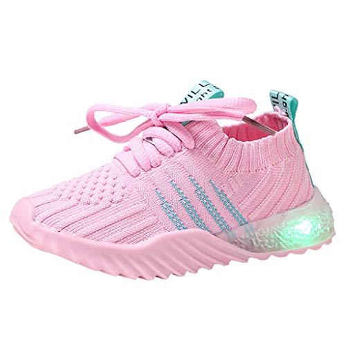 Sllowwa Baby Kleinkind Kinder LED Leuchtschuhe Sport-Lauf-Turnschuh-Schuhe Süßigkeit-Farbe Turnschuhe Sneaker(Pink,30)