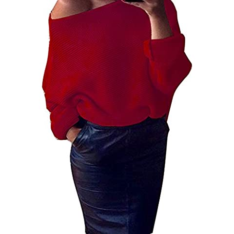 OverDose Mujeres Hombro de punto grueso de punto de gran tamaño holgado suéter del puente superior