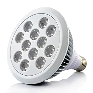 Grow Light - LED hydroponic growing lamp - 12 Large LEDs - Red, Blue, Orange - Screw fitting bulb - Ideal for indoor plants - High Light output but Low Energy Saving LEDs